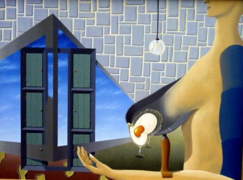 Een ei gebakken onder surrealistische omstandigheden   1994 ( 75x100 cm )/A fried egg under surrealistic circumstances   1994 ( 75x100 cm )