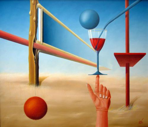 Als je een bal zo kunt balanceren, ben je niet dronken   1995  ( 60x80 cm )   /So if you can balance a ball, you're not drunk   1995  ( 60x80 cm )