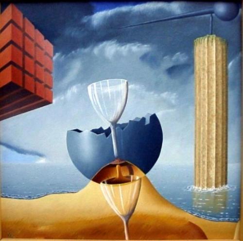 Dagje strand   1995 ( 60x60 cm ) ( drieluik links )/Day at the beach   1995 ( 60x60 cm ) left panel
