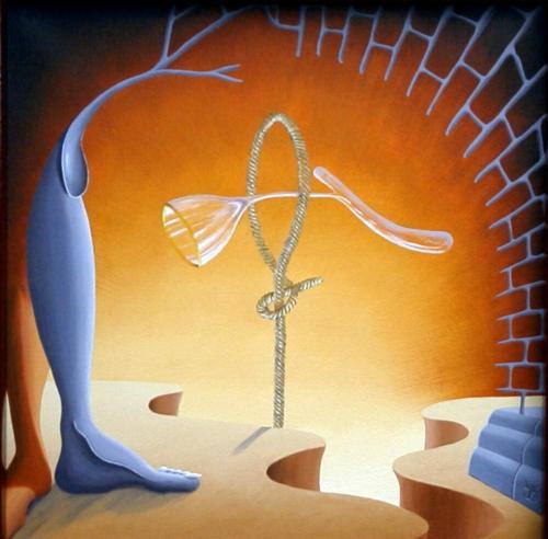 Het acrobaterend glas   1997 ( 50x50 cm )The acrobat glass   1997 ( 50x50 cm )