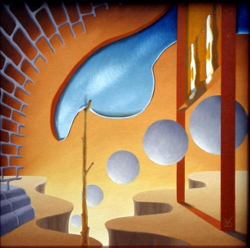 Thuiskomst der bollen voor gebakken eieren   1997 ( 50x50 cm )/Homecoming of spheres for fried eggs   1997 ( 50x50 cm )