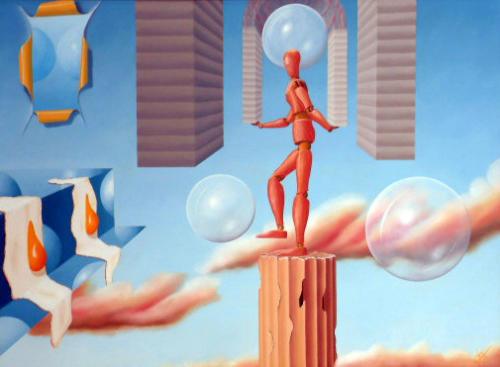 Jongleur wil eieren imponeren met zwevende bollen   1999  ( 60x80 cm )/Juggler wants to impress fried eggs with floating balls   1999  ( 60x80 cm )