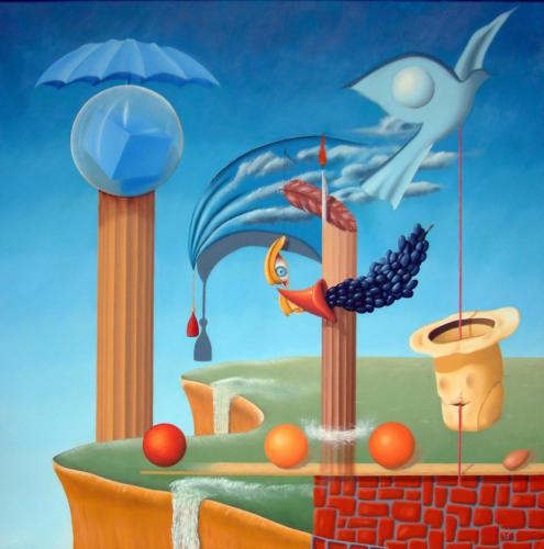 De magie van de illusie    1999 ( 100x100 cm )The magic of illusion   1999 ( 100x100 cm )