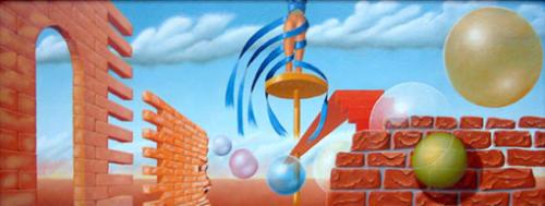 De kans genomen zichzelf te bevrijden     2000 ( 35x90 cm )/Taken the opportunity to free themselves    2000 ( 35x90 cm )