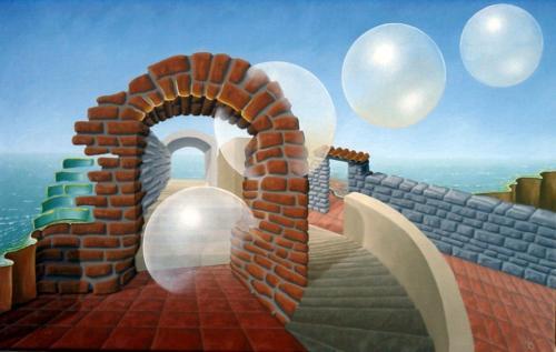 Als spiritualisten verlaten zij de ruïne   2000 ( 50x75 cm )/They leave the ruin as spirityalists    2000 ( 50x75 cm )
