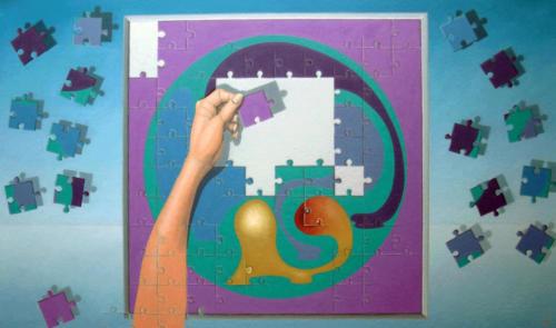 Het lijkt een onmogelijke opgave, deze puzzel   2002 ( 60x80cm )/It seems an impossible task, this puzzle   2002 ( 60x80cm )