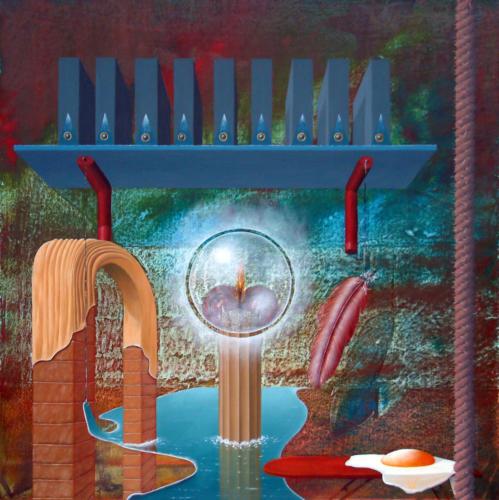 2002 - De gevestigde ordening voorbij      ( 50x50 cm )/The established organisation beyond