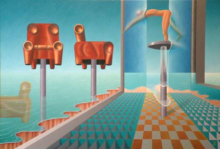 2003 - Een moeilijk meubels te plaatsen interieur     ( 60x80 cm )/A difficult furniture to place interior